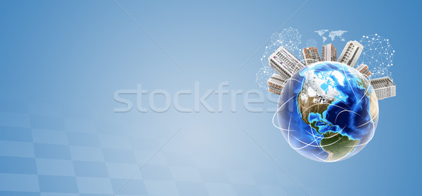 Earth with cityscape and molecule model Stock photo © cherezoff
