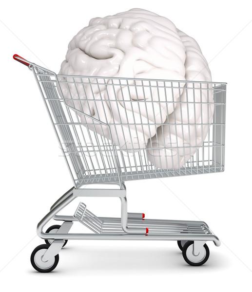 Cérebro humano carrinho de compras isolado branco metal compras Foto stock © cherezoff