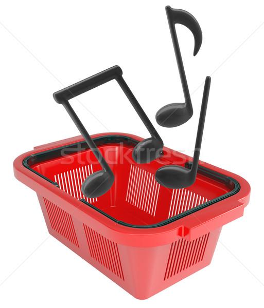 Hangjegyek bevásárlókosár izolált fehér zene vásárlás Stock fotó © cherezoff