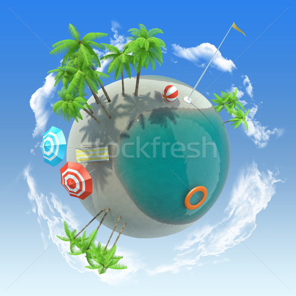 Earth with beach and palms Stock photo © cherezoff