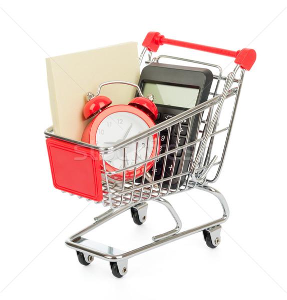 Számológép ébresztőóra bevásárlókocsi izolált fehér óra Stock fotó © cherezoff