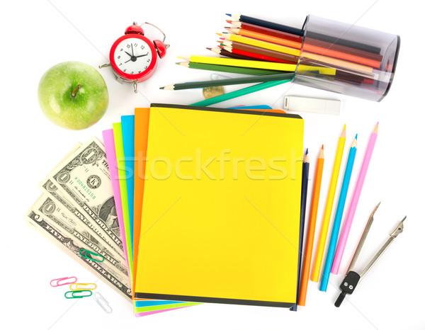 Geld Büro Bleistift Tasse Buntstifte Apfel Stock foto © cherezoff