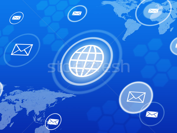 Computer icons with world map Stock photo © cherezoff