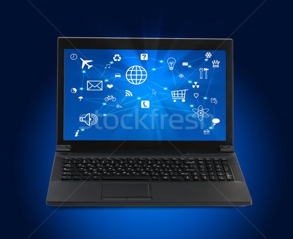Fekete laptop számítógép ikonok kék laptop absztrakt Stock fotó © cherezoff