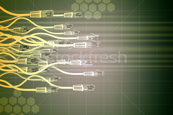 Abstract green  background with computer cables Stock photo © cherezoff