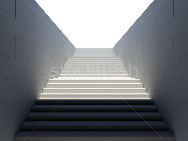 Empty white stairs in pedestrian subway Stock photo © cherezoff