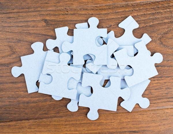 Köteg kirakó darabok asztal felső kilátás absztrakt Stock fotó © cherezoff