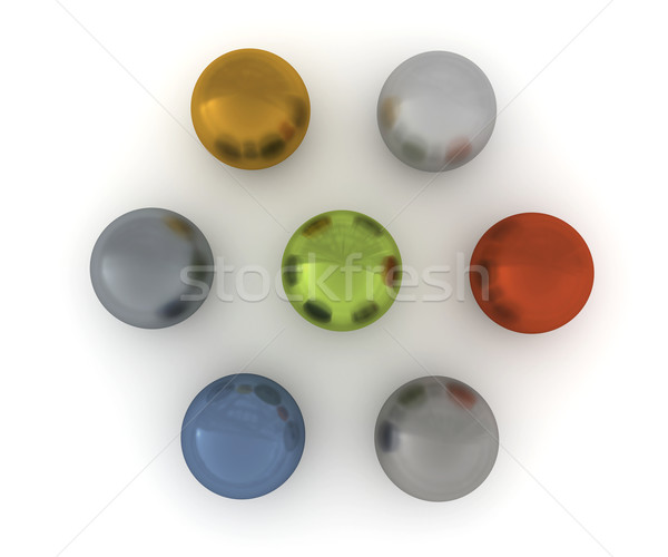 Seven balls of nonferrous alloys. View from the top Stock photo © cherezoff
