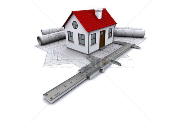 Composition of construction drawings, models at home with red roof and calipers. 3D rendering Stock photo © cherezoff