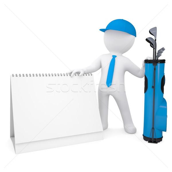 3D beyaz adam takvim çanta golf Stok fotoğraf © cherezoff