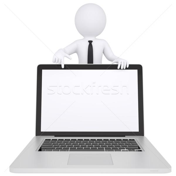 3d white man points a finger at laptop Stock photo © cherezoff