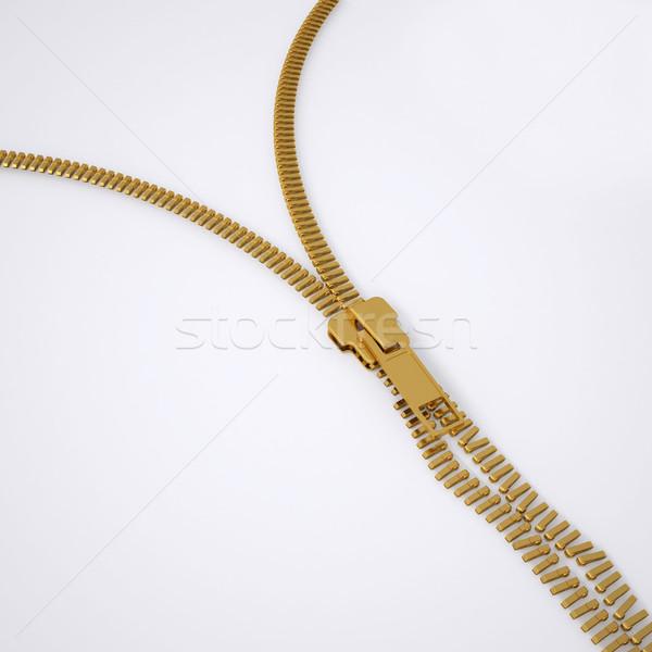 Quebrado trancar zíper 3d render cinza fundo Foto stock © cherezoff