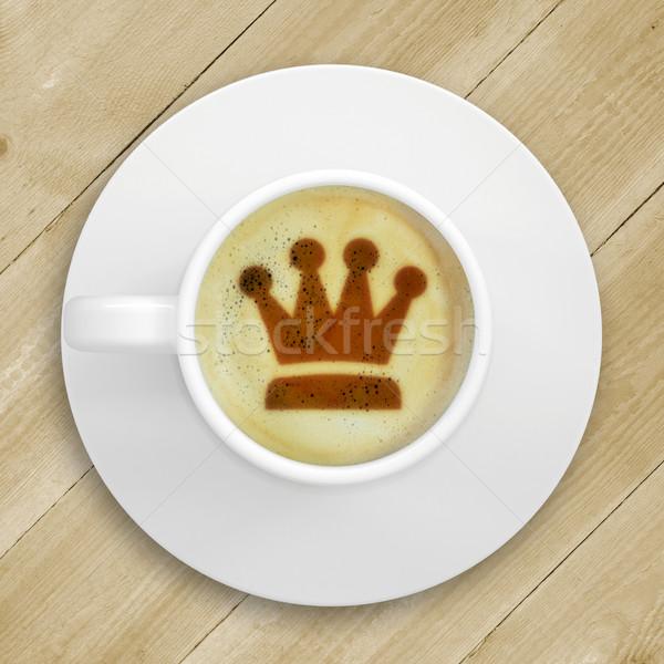 Quadro coroa café espuma copo em pé Foto stock © cherezoff