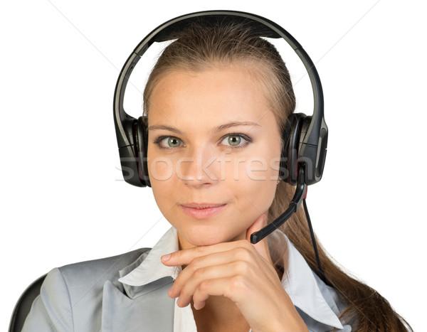 деловая женщина гарнитура сидят Председатель стороны подбородок Сток-фото © cherezoff