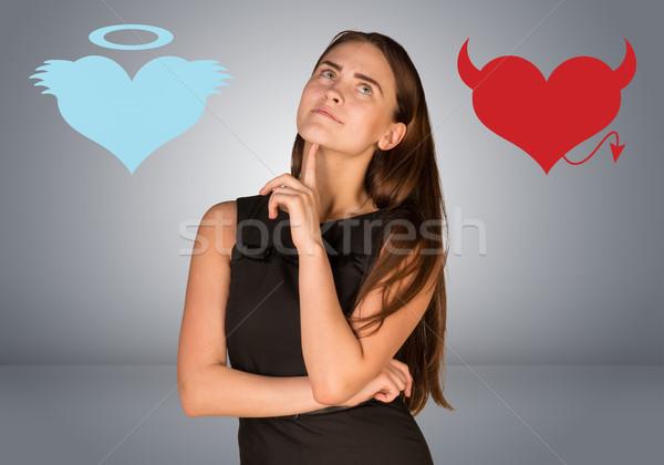 Kobieta anioł diabeł serca szary miłości Zdjęcia stock © cherezoff
