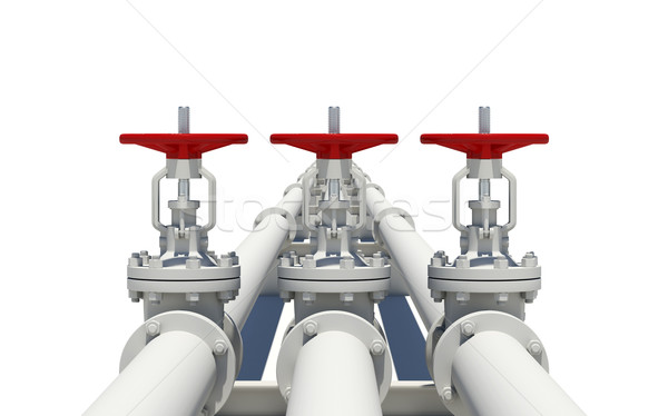 Três branco pipes isolado metal industrial Foto stock © cherezoff