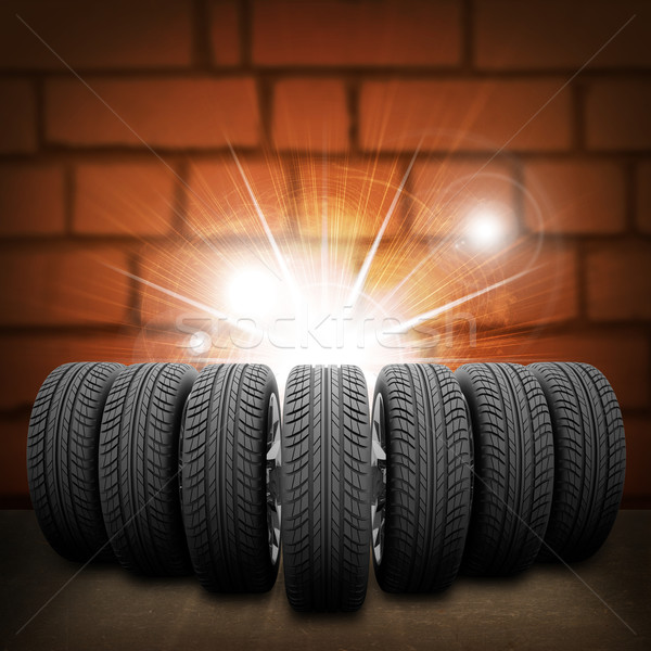 клин Новый автомобиль Колеса красный кирпичная стена конкретные Сток-фото © cherezoff