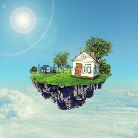Beyaz ev kahverengi çatı yol araba ada Stok fotoğraf © cherezoff