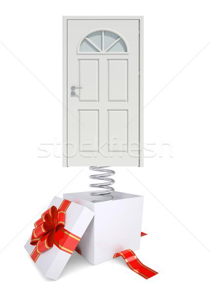 Caixa de presente vermelho banda branco porta primavera Foto stock © cherezoff