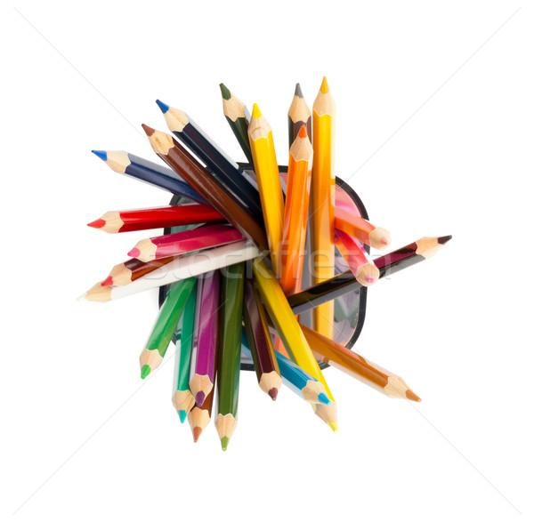 Kalem fincan boya kalemleri beyaz yalıtılmış üst Stok fotoğraf © cherezoff