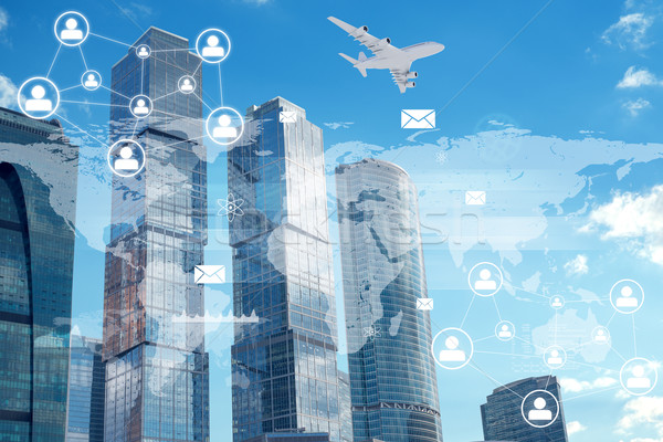 High-rise buildings with people icons Stock photo © cherezoff