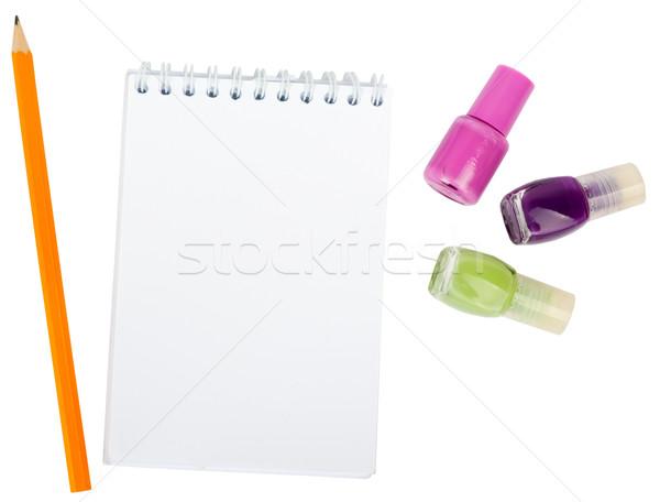 öffnen Schönschreibheft Nagel isoliert weiß Business Stock foto © cherezoff