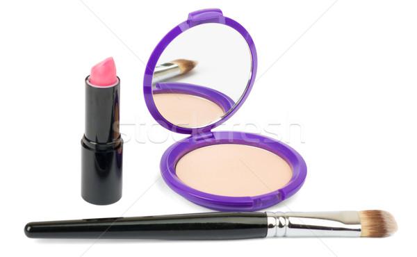 Cosmetics accessories, brush, lipstick on white Stock photo © cherezoff