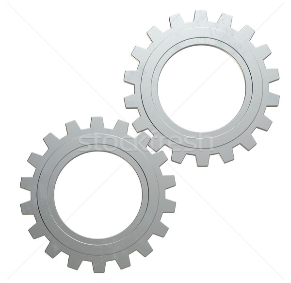 Twee metaal versnellingen geïsoleerd witte 3d illustration Stockfoto © cherezoff