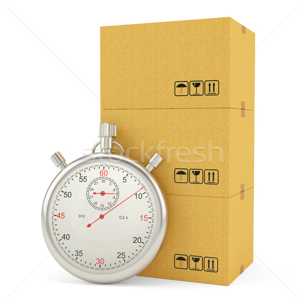 Cardboard Boxes with Stopwatch, isolated on white Stock photo © cherezoff