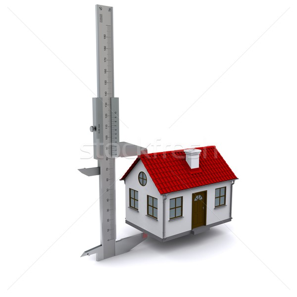 caliper measures the height of the house. 3D rendering Stock photo © cherezoff