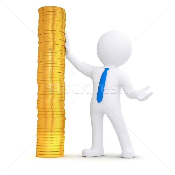 3d white man next to a pile of gold coins Stock photo © cherezoff