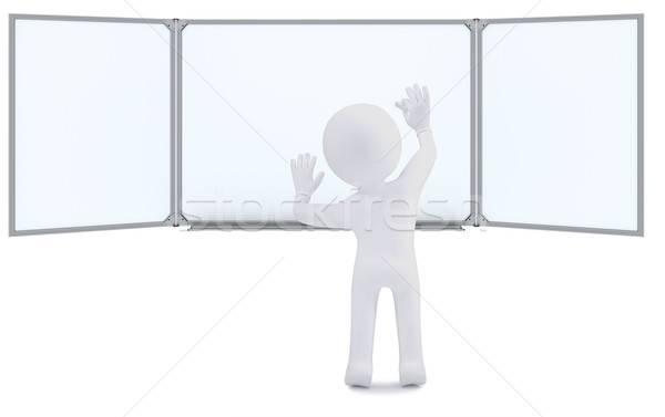 3d human with chalk writing on the whiteboard Stock photo © cherezoff