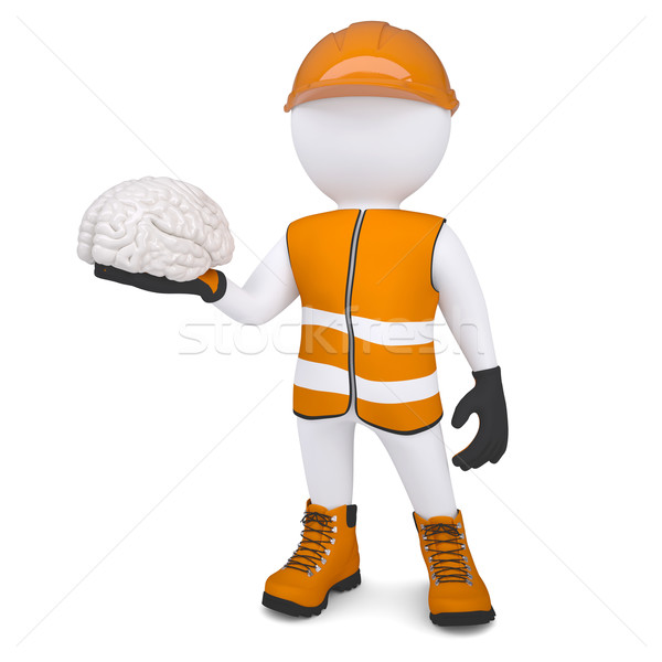3d white man in overalls holding a brain Stock photo © cherezoff