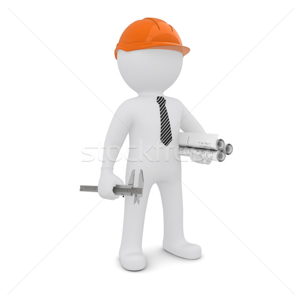 Blanke man oranje helm tekening geïsoleerd witte Stockfoto © cherezoff