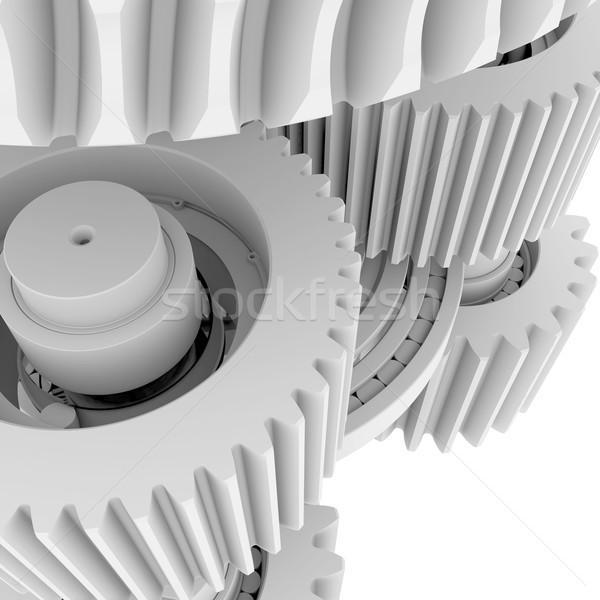Branco engrenagens 3d render trabalhar fundo arte Foto stock © cherezoff