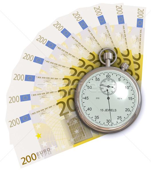 Il tempo è denaro euro 3D generato immagine soldi Foto d'archivio © cherezoff