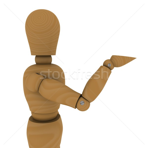 The wooden man with extended hand. 3D rendering Stock photo © cherezoff
