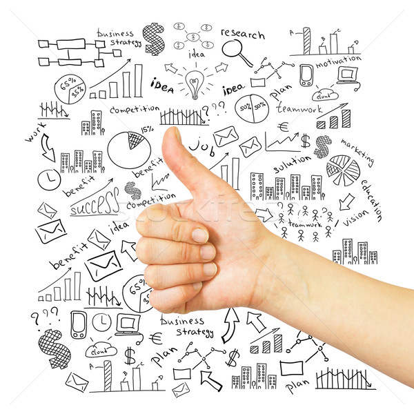 Hand with raised thumb and business sketches Stock photo © cherezoff