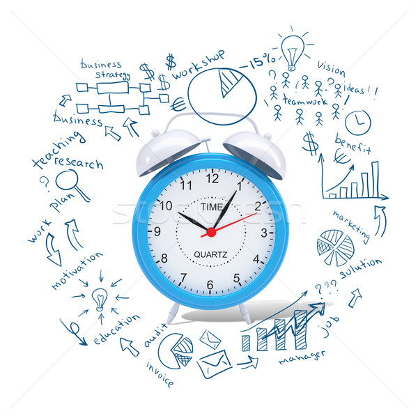 Alarm clock with business sketches Stock photo © cherezoff