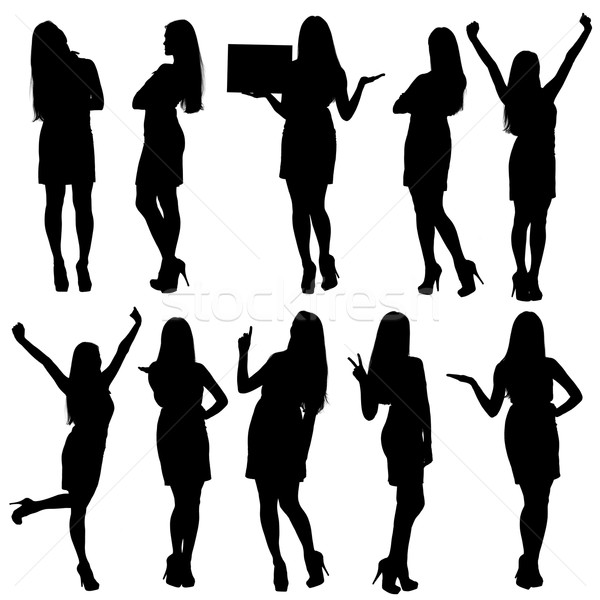Stock photo: Business woman silhouettes