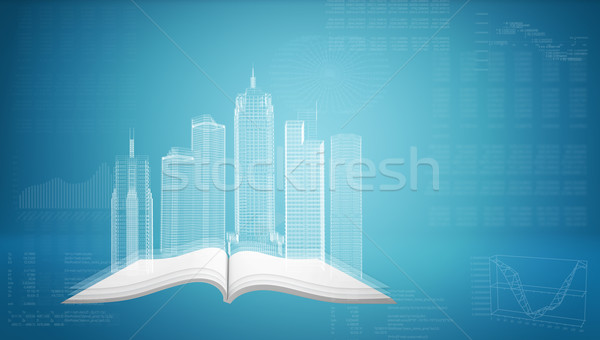 Glowing wire-frame buildings on open empty book Stock photo © cherezoff