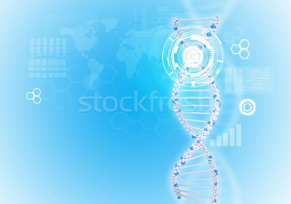 人間 DNA鑑定を 白 リング 六角形 世界地図 ストックフォト © cherezoff