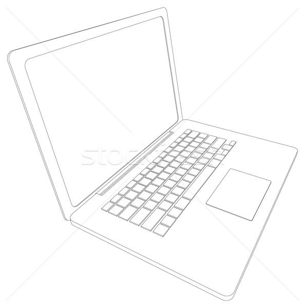 Desenho wireframe abrir laptop perspectiva ver Foto stock © cherezoff