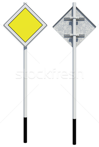 Square yellow road sign. Front and back view. Isolated  Stock photo © cherezoff