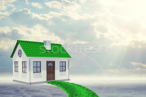 Stok fotoğraf: Küçük · ev · yeşil · çatı · çim · yol