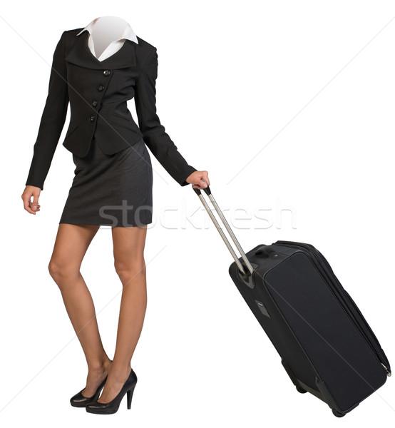 ストックフォト: 女性 · ボディ · 立って · 飛行 · 袋 · 女性実業家