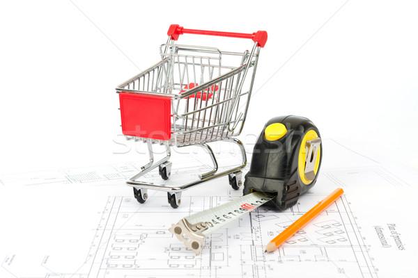 Mérőszalag bevásárlókocsi ceruza vásárlás grafikon szalag Stock fotó © cherezoff