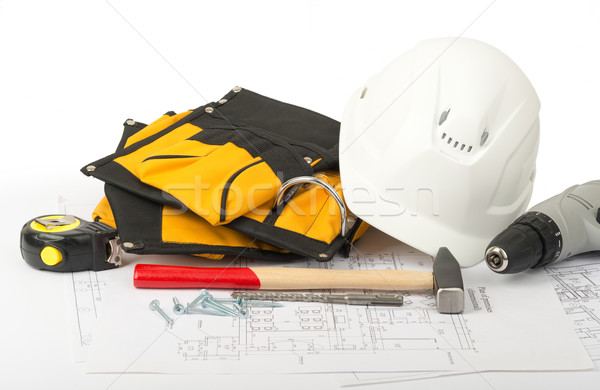 Helmet with tool belt, front view Stock photo © cherezoff