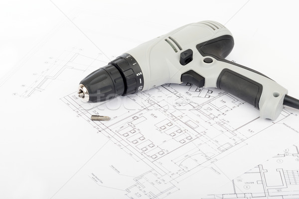Electric screwdriver on draft Stock photo © cherezoff