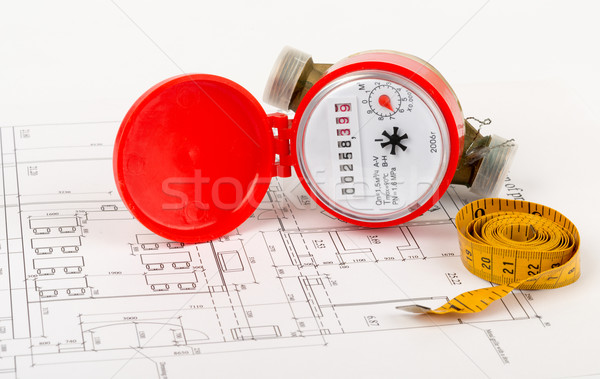 Water meter with tape-measure  Stock photo © cherezoff